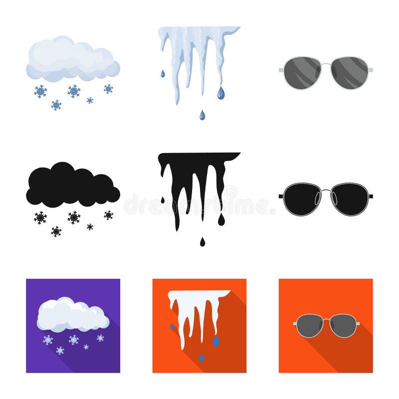 Progettazione di vettore del simbolo di clima e del tempo Raccolta dell'icona di vettore della nuvola e del tempo per le azione illustrazione di stock