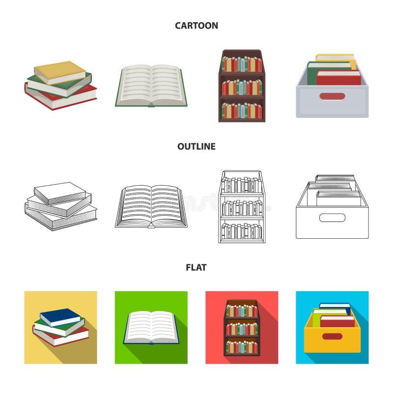 Progettazione di vettore del simbolo del manuale e delle biblioteche Metta del simbolo di riserva della scuola e delle bibliotech illustrazione di stock