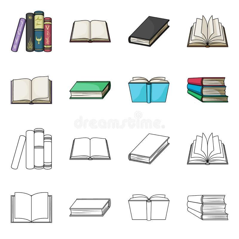 Progettazione di vettore del simbolo del manuale e delle biblioteche Raccolta dell'icona di vettore della scuola e delle bibliote illustrazione di stock