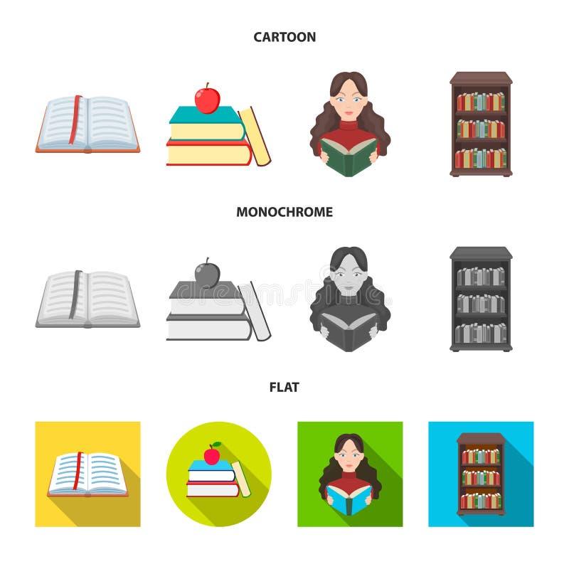 Progettazione di vettore del simbolo del manuale e delle biblioteche Raccolta dell'illustrazione di riserva di vettore della scuo royalty illustrazione gratis