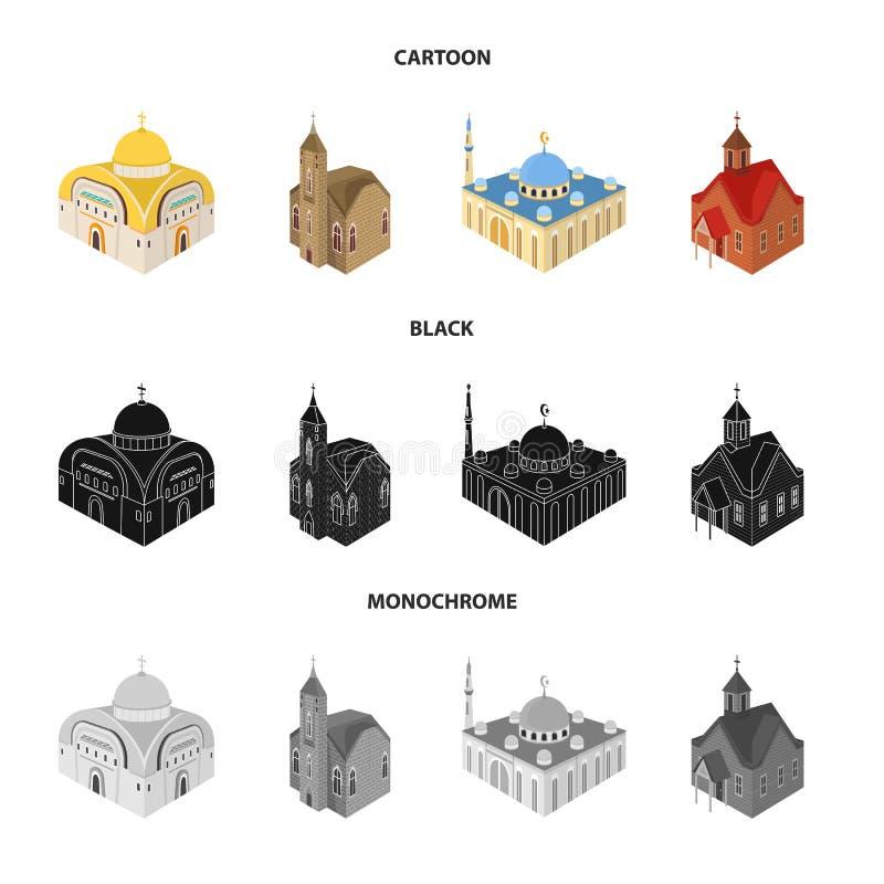 Progettazione di vettore del tempio e dell'icona storica Raccolta del tempio e del simbolo di riserva di fede per il web illustrazione di stock