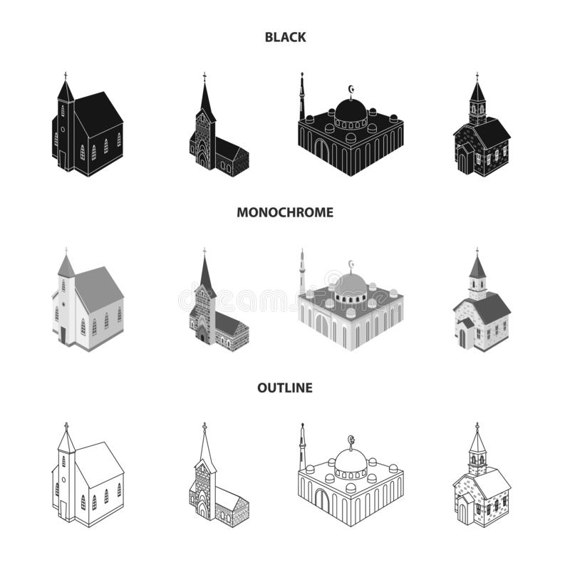 Progettazione di vettore del tempio e del segno storico Raccolta del tempio e del simbolo di riserva di fede per il web royalty illustrazione gratis