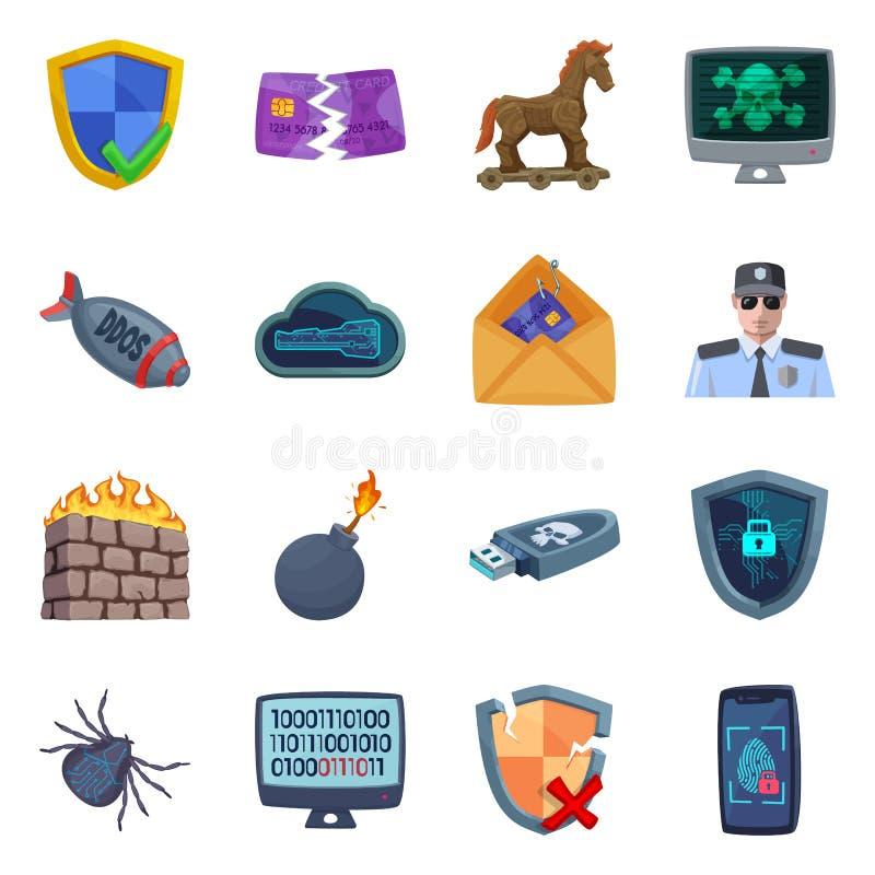 Progettazione di vettore del virus e del simbolo sicuro Insieme del virus e del simbolo di riserva cyber per il web royalty illustrazione gratis