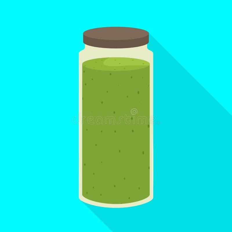 Progettazione di vettore dell'icona dell'alga e del frullato Raccolta del simbolo di riserva dei superfoods e del frullato per il illustrazione di stock