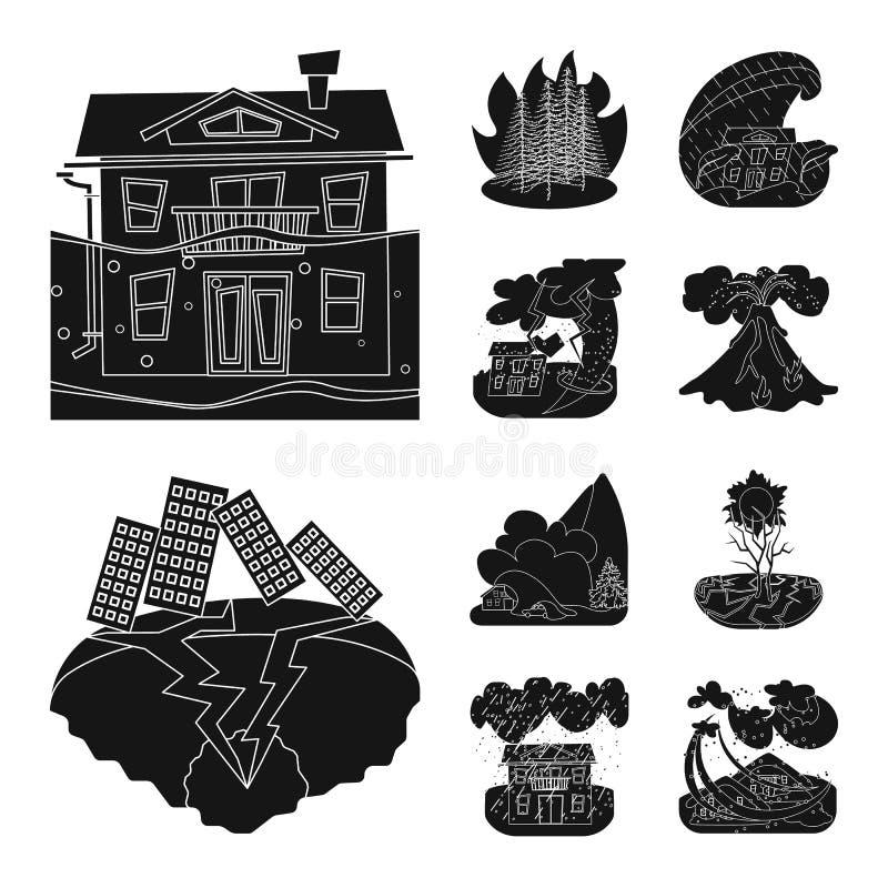 Progettazione di vettore dell'icona di arresto e di calamità Metta dell'illustrazione di vettore delle azione di disastro e di ca illustrazione di stock