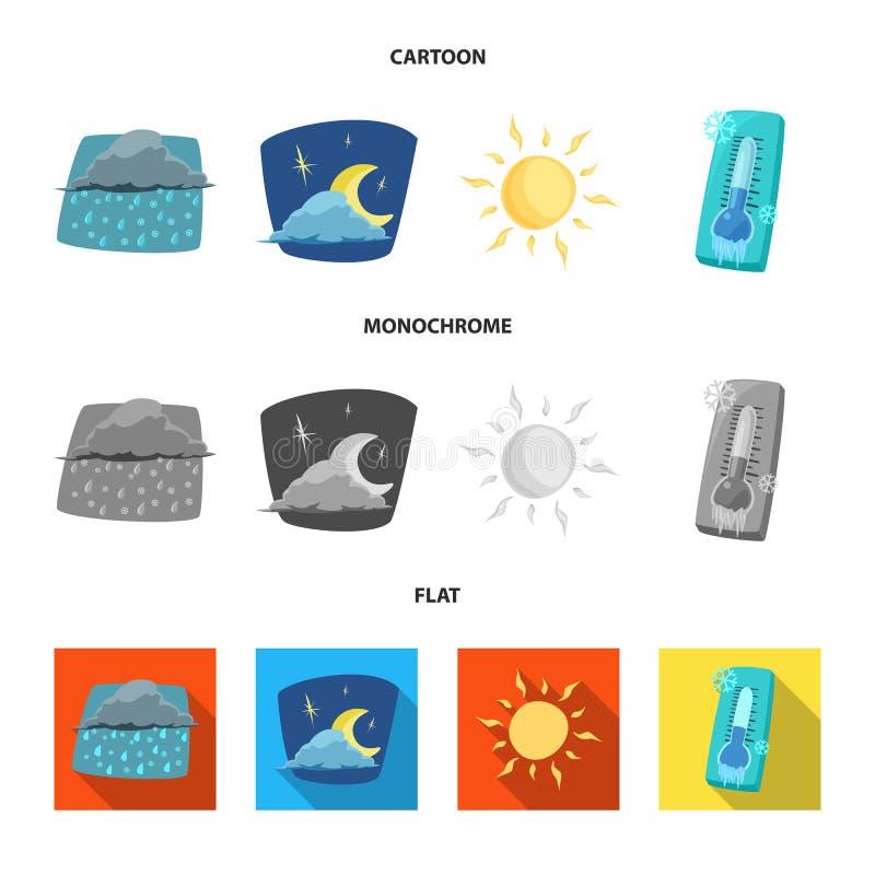 Progettazione di vettore dell'icona di clima e del tempo Insieme dell'icona di vettore della nuvola e del tempo per le azione royalty illustrazione gratis