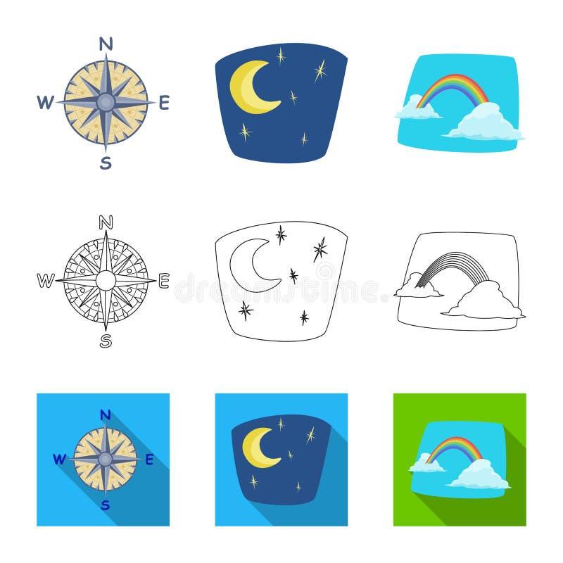 Progettazione di vettore dell'icona di clima e del tempo Raccolta del simbolo di riserva della nuvola e del tempo per il web illustrazione vettoriale