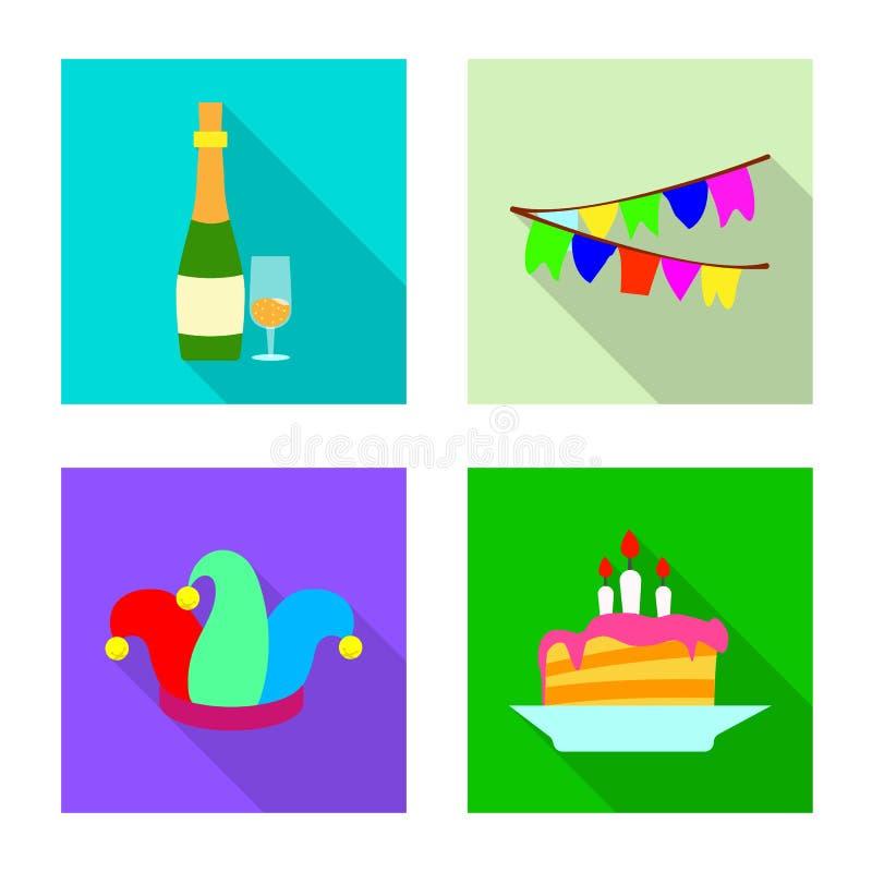 Progettazione di vettore dell'icona di compleanno e del partito Raccolta dell'illustrazione di riserva di vettore di celebrazione illustrazione di stock