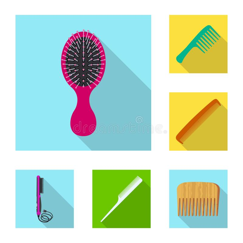 Progettazione di vettore dell'icona dei capelli e della spazzola Insieme dell'illustrazione di riserva di vettore della spazzola  illustrazione vettoriale
