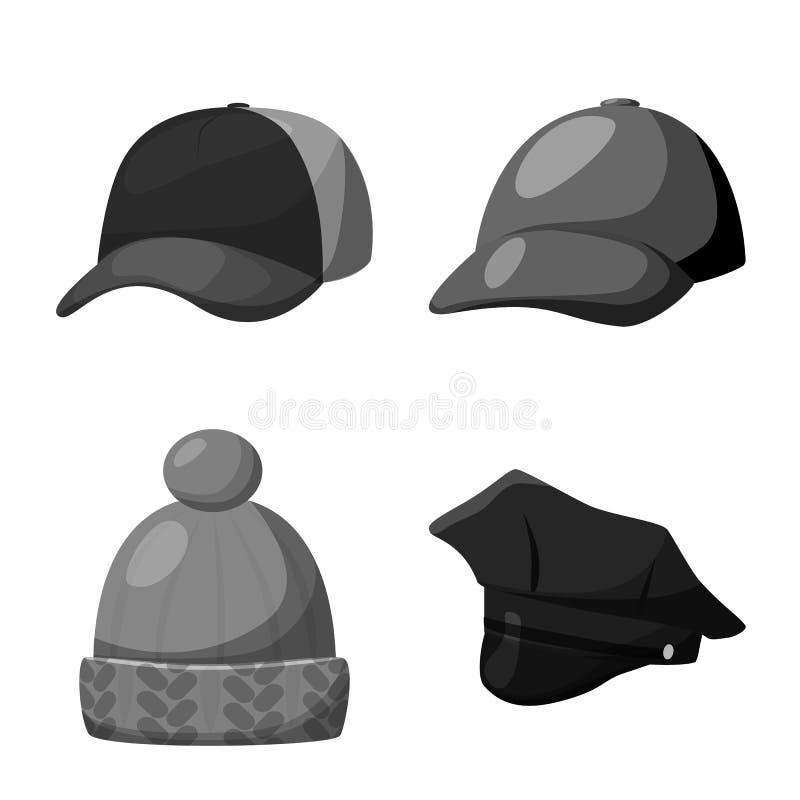 Progettazione di vettore dell'icona del casco e del cappello Metta del cappello e del simbolo di riserva di professione per il we illustrazione di stock