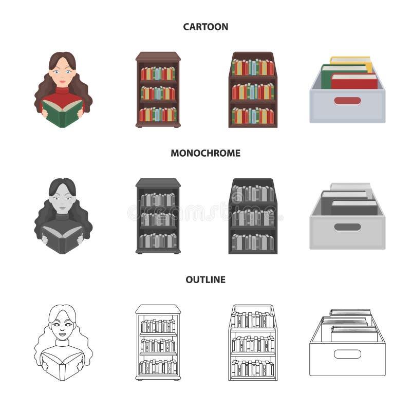 Progettazione di vettore dell'icona del manuale e delle biblioteche Metta dell'icona di vettore della scuola e delle biblioteche  illustrazione di stock