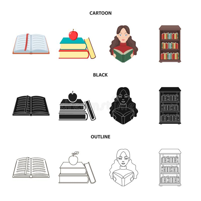 Progettazione di vettore dell'icona del manuale e delle biblioteche Metta del simbolo di riserva della scuola e delle biblioteche illustrazione di stock