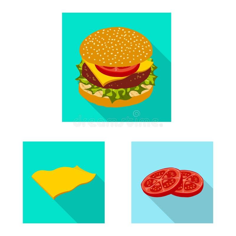 Progettazione di vettore dell'icona del panino e dell'hamburger Insieme dell'illustrazione di riserva di vettore della fetta e de royalty illustrazione gratis