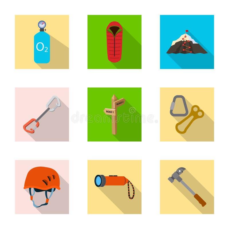 Progettazione di vettore dell'icona del picco e di alpinismo Raccolta dell'illustrazione di riserva di vettore del campo e di alp illustrazione vettoriale