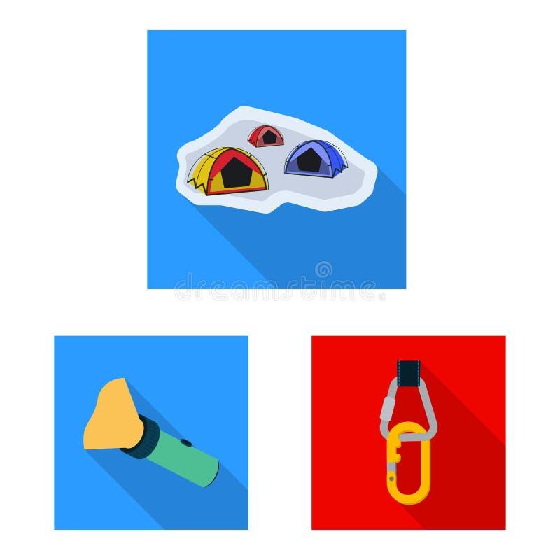 Progettazione di vettore dell'icona del picco e di alpinismo Raccolta dell'illustrazione di riserva di vettore del campo e di alp illustrazione di stock