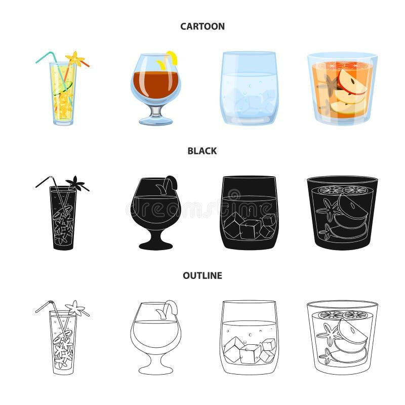 Progettazione di vettore dell'icona del ristorante e del liquore Metta del simbolo di riserva dell'ingrediente e del liquore per  illustrazione di stock
