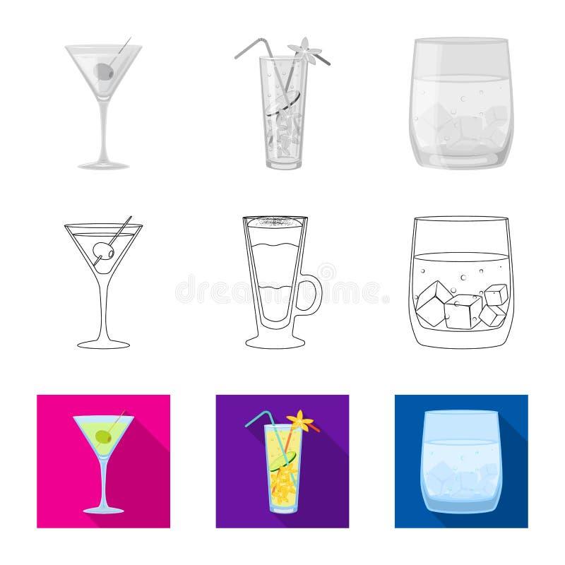 Progettazione di vettore dell'icona del ristorante e del liquore Raccolta dell'illustrazione di vettore delle azione dell'ingredi illustrazione vettoriale