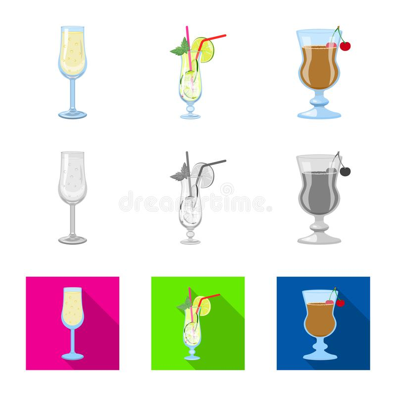 Progettazione di vettore dell'icona del ristorante e del liquore Raccolta del simbolo di riserva dell'ingrediente e del liquore p illustrazione vettoriale