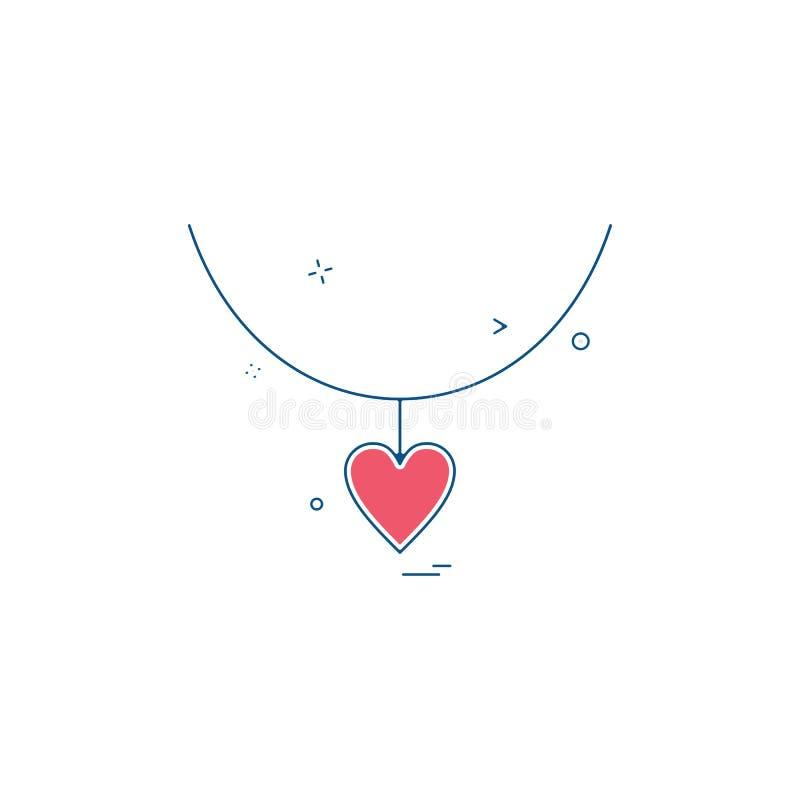 progettazione di vettore dell'icona della collana del regalo di amore del cuore royalty illustrazione gratis