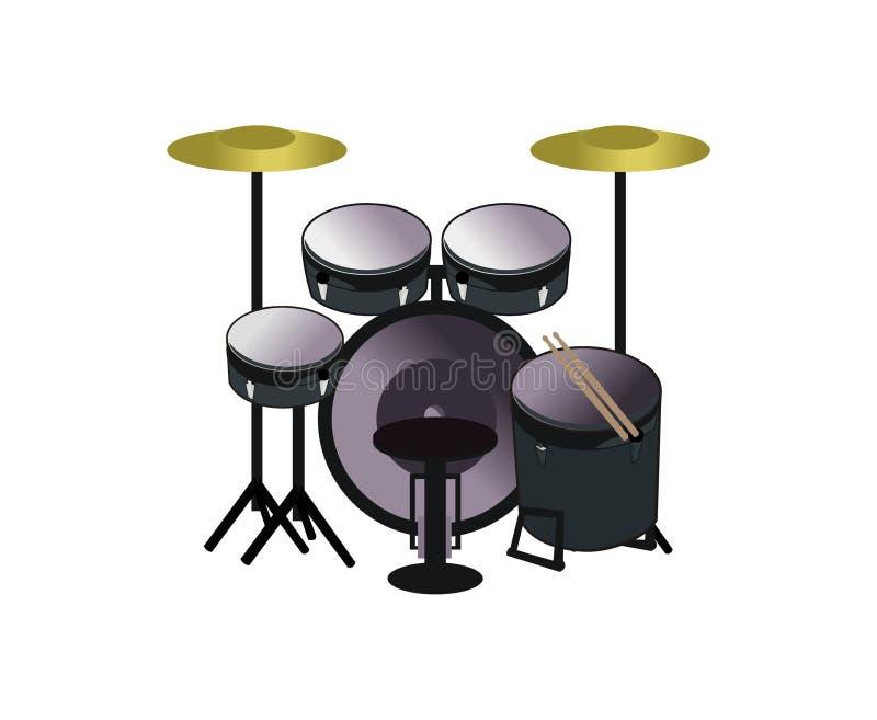 Progettazione di vettore dell'insieme di musica del tamburo illustrazione di stock
