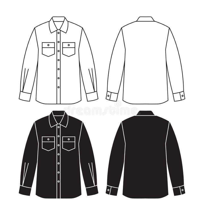 Progettazione di vettore della camicia lunga con le maniche illustrazione di stock