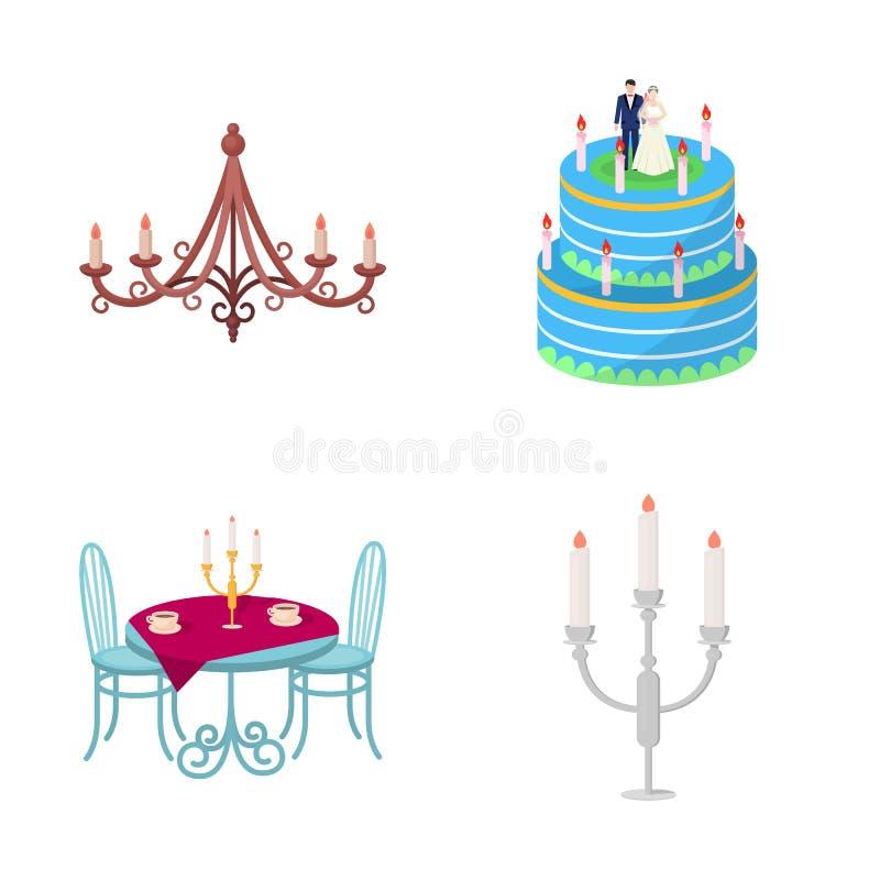 Progettazione di vettore della candela e dell'icona del candeliere Raccolta dell'illustrazione di vettore delle azione della chie royalty illustrazione gratis