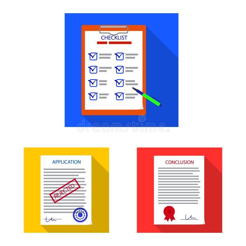 Progettazione di vettore della forma e dell'icona del documento Insieme dell'illustrazione di riserva di vettore del segno e dell illustrazione vettoriale