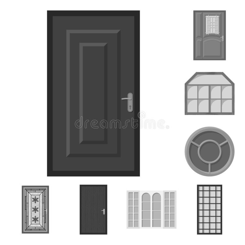 Progettazione di vettore della porta e del logo anteriore Insieme della porta ed icona di legno di vettore per le azione illustrazione vettoriale