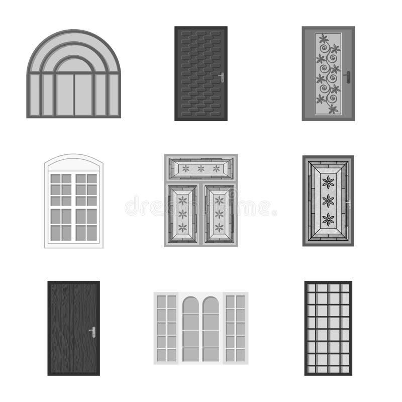 Progettazione di vettore della porta e del segno anteriore Raccolta della porta e dell'illustrazione di riserva di legno di vetto illustrazione vettoriale