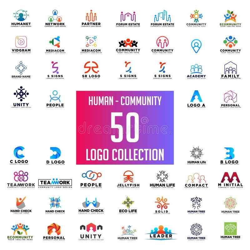progettazione di vettore della raccolta di logo della gente della comunità, download dell'insieme di logo di lavoro di squadra illustrazione vettoriale