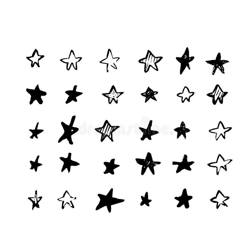 Progettazione di vettore della stella di lerciume Forma isolata del bollo, tecture della spazzola per la vostra progettazione illustrazione di stock