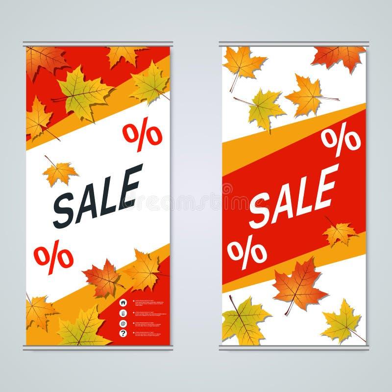 Progettazione di vettore delle insegne di affari del rotolo-su di stile di autunno royalty illustrazione gratis