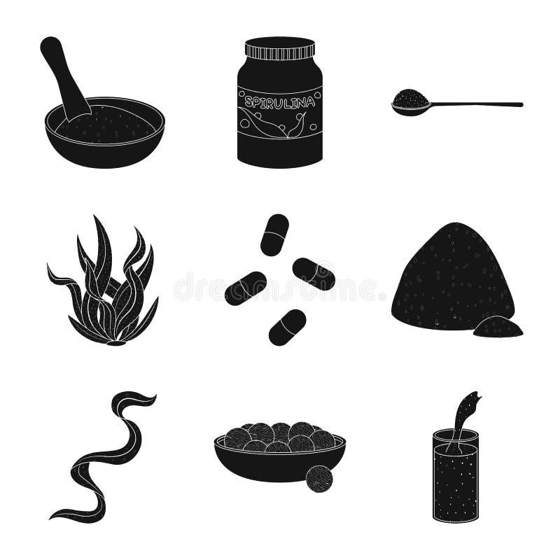 Progettazione di vettore di erba e del simbolo naturale Raccolta del simbolo di riserva dell'alga e dell'erba per il web illustrazione di stock