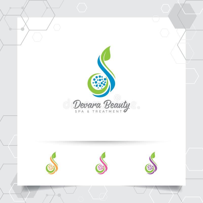 Progettazione di vettore di logo di bellezza della stazione termale con il concetto della natura verde Stazione termale e logo di illustrazione vettoriale