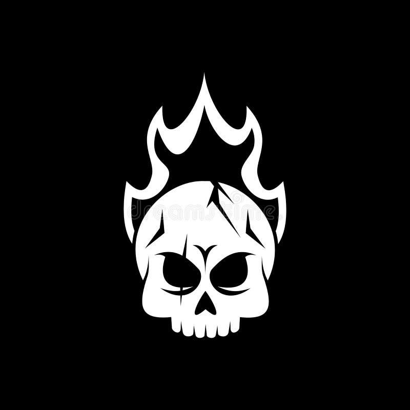 Progettazione di vettore di logo del fuoco del cranio illustrazione di stock