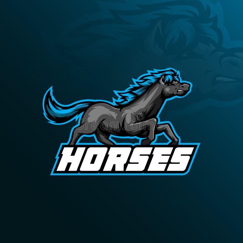 Progettazione di vettore di logo della mascotte del cavallo con stile moderno di concetto dell'illustrazione per stampa del disti illustrazione vettoriale