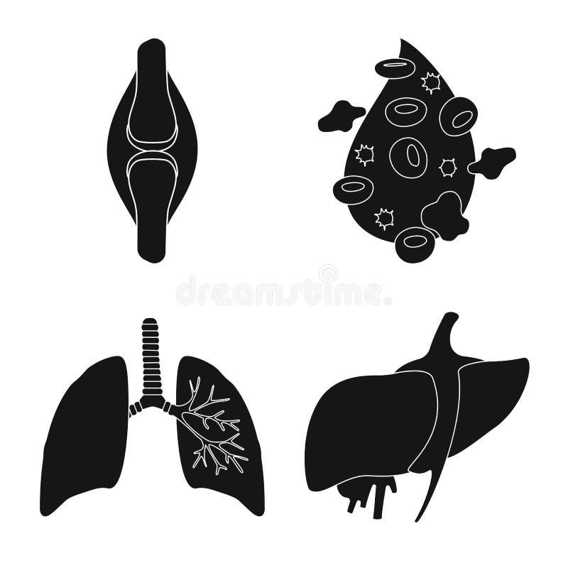 Progettazione di vettore di ricerca e del logo del laboratorio Raccolta dell'icona di vettore dell'organo e di ricerca per le azi illustrazione di stock