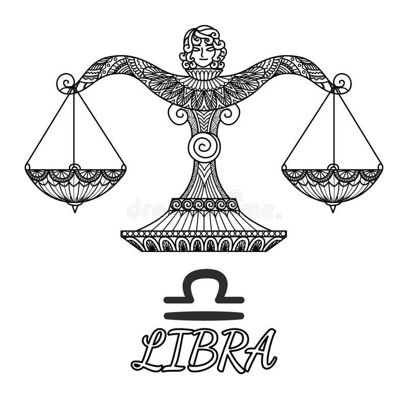 Progettazione di Zendoodle del segno dello zodiaco della Bilancia Illustrazione di vettore illustrazione di stock