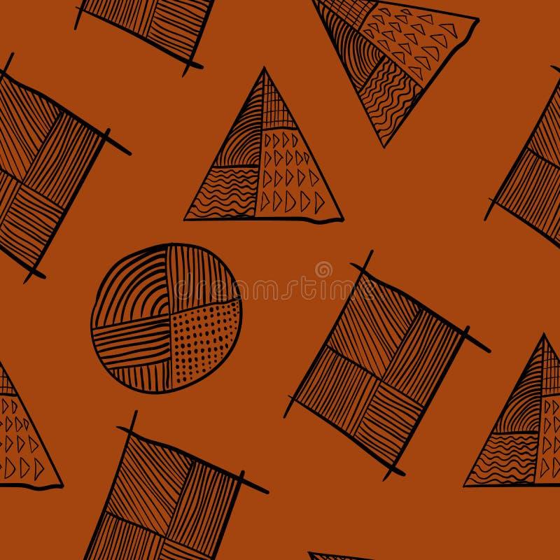 Progettazione diagonale disegnata a mano senza cuciture geometrica semplice del manifesto illustrazione vettoriale