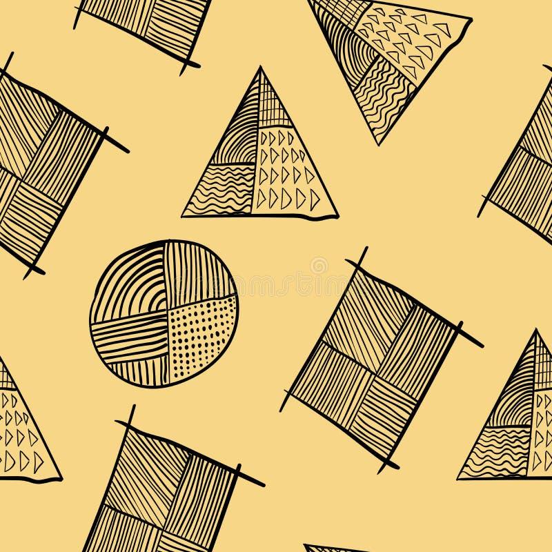 Progettazione diagonale disegnata a mano senza cuciture geometrica semplice del manifesto illustrazione di stock