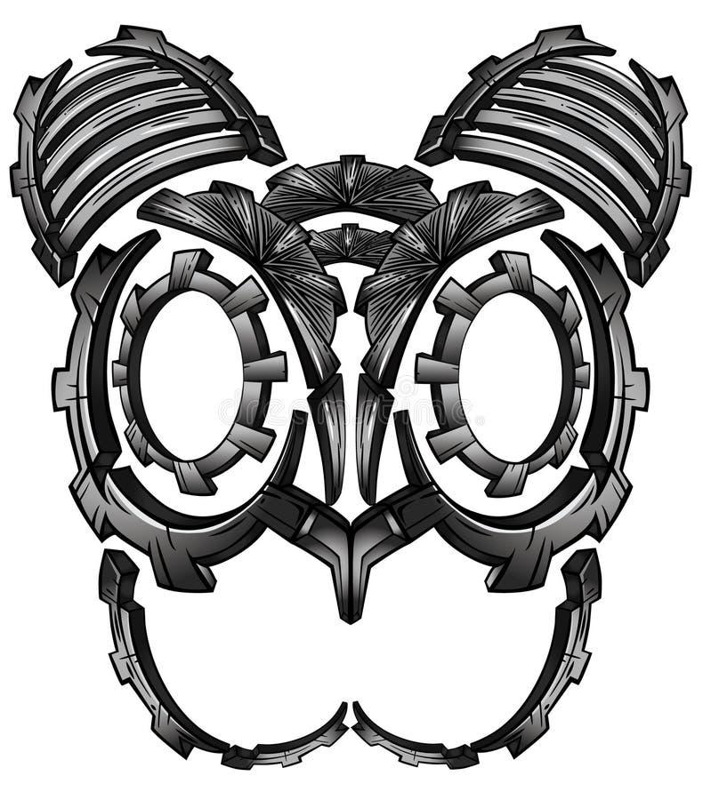 Progettazione digitale del fronte del gatto di fantasia techna cyber del robot del metallo illustrazione vettoriale
