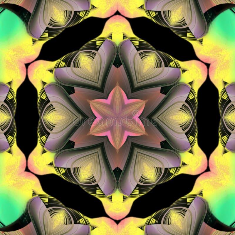 Progettazione digitale di arte del cuore del fiore con i bei colori leggeri illustrazione vettoriale