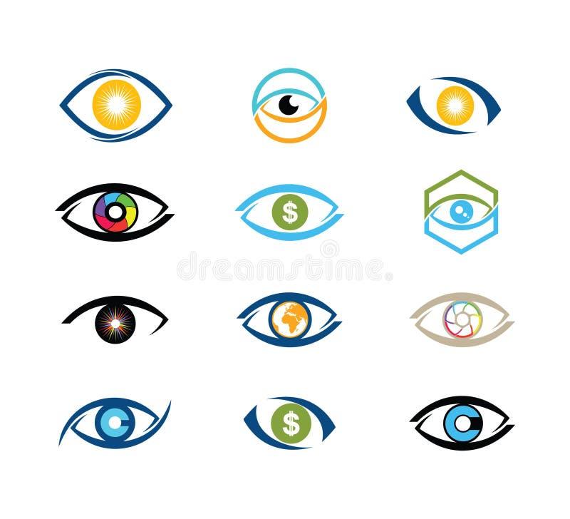 progettazione digitale di logo di vettore di tecnologia dell'occhio di visione fotografia stock libera da diritti