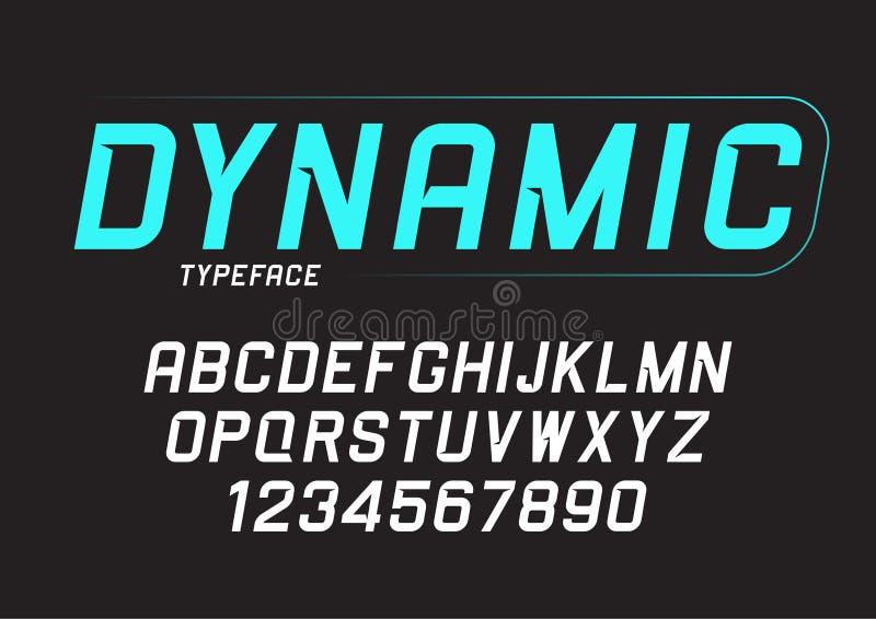 Progettazione dinamica della fonte di grassetto corsivo di vettore, alfabeto, carattere, errore illustrazione vettoriale