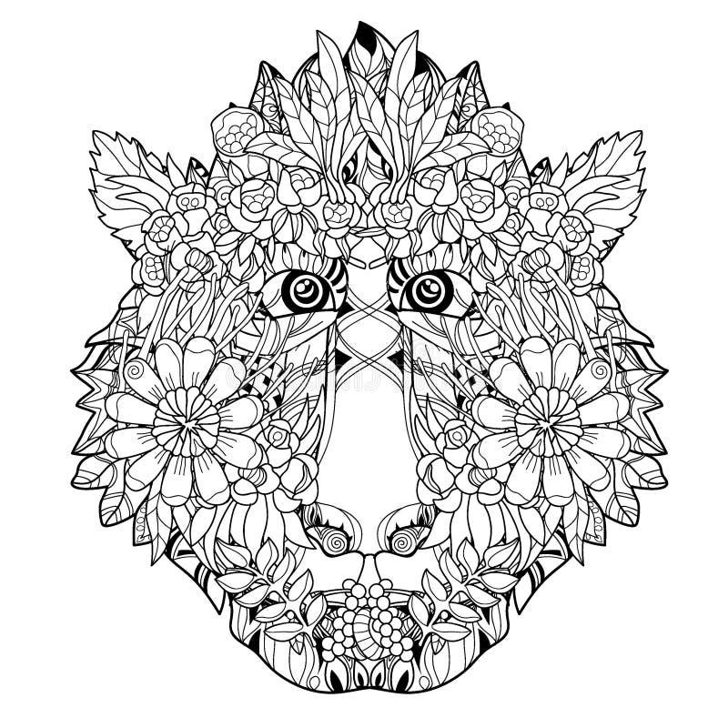 Progettazione disegnata icona-mano capa del fiore della scimmia illustrazione di stock