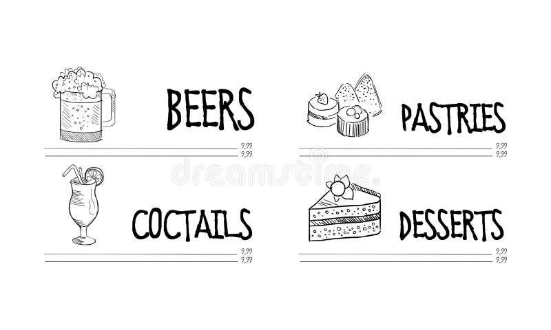 Progettazione disegnata a mano di vettore del menu del ristorante o del caffè con la tazza di birra, di vetro del cocktail, di pa illustrazione di stock