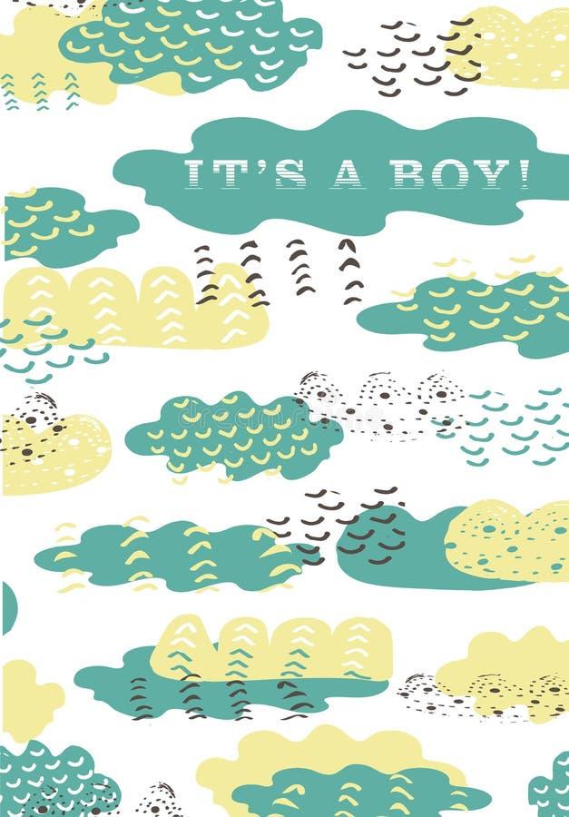 Progettazione disegnata a mano verde blu variopinta della nuvola del grafico di vettore per l'arrivo neonato Modello di annuncio  royalty illustrazione gratis