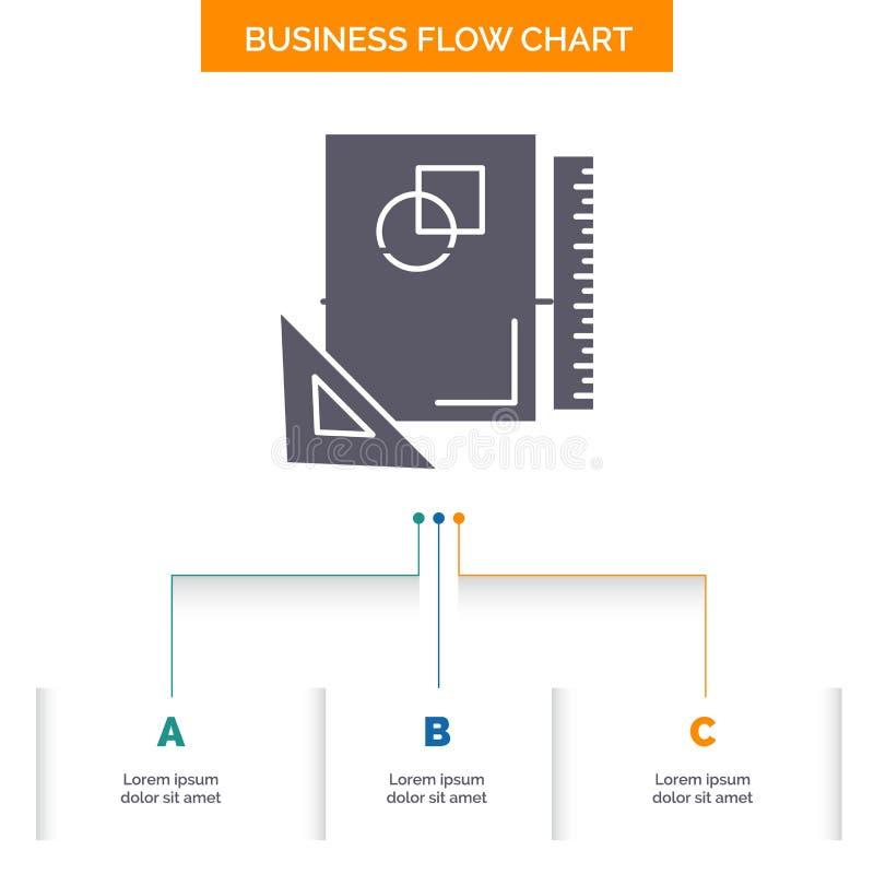 Progettazione, disposizione, pagina, schizzo, schizzante progettazione del diagramma di flusso di affari con 3 punti r illustrazione vettoriale