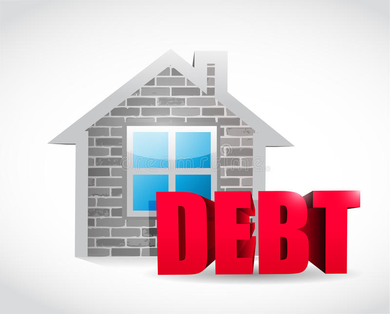 Progettazione domestica dell'illustrazione del segno del bene immobile di debito illustrazione vettoriale