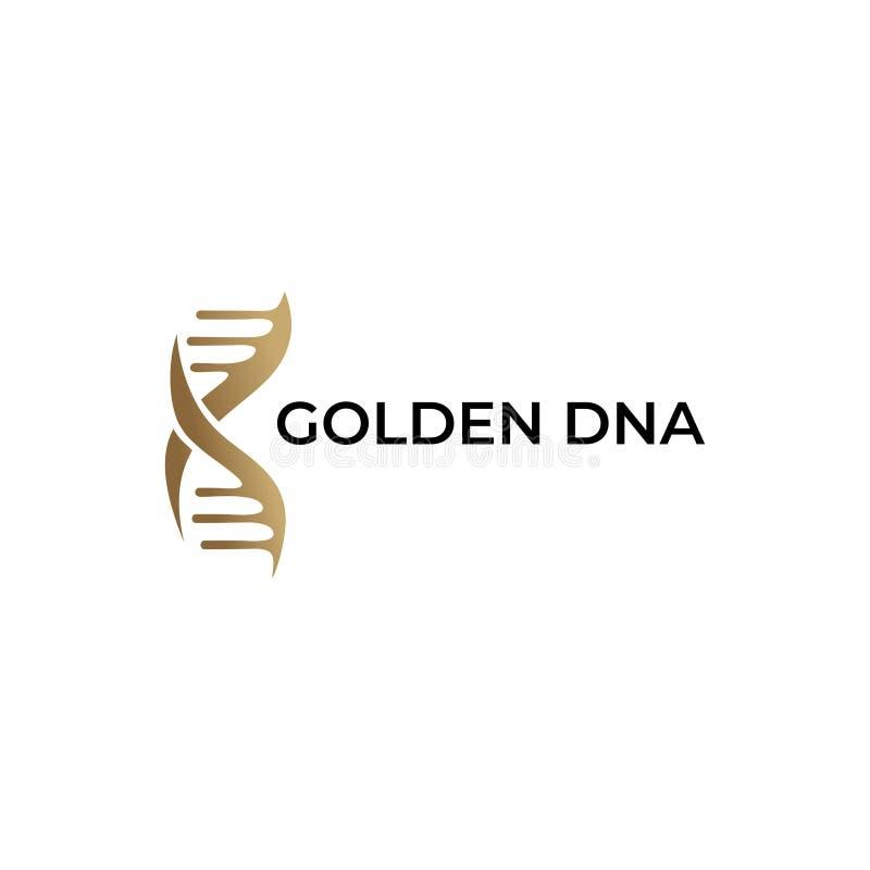 Progettazione dorata dell'estratto di simbolo dell'icona del DNA con oro e fondo bianco illustrazione di stock